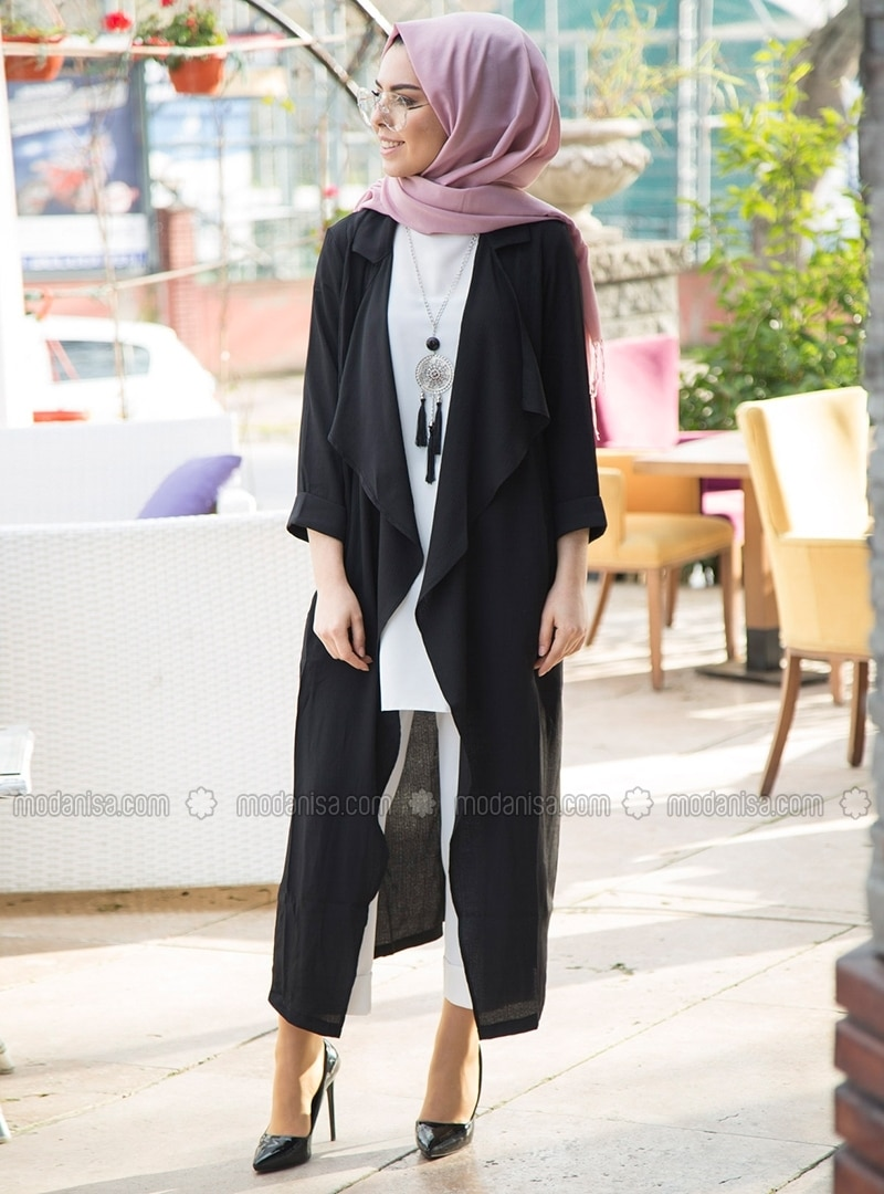Black   Unlined   Shawl Collar   Topcoat by Modanisa
