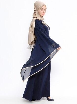 Navy Blue - Unlined - Crew neck - Muslim Evening Dress - BÜRÜN 390981