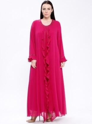 Pink - Unlined - Crew neck - Muslim Plus Size Evening Dress