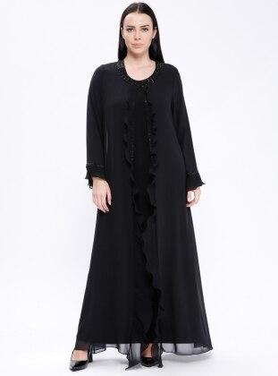 Volan Detaylı Abiye Elbise - Siyah - he&de Ürün Resmi