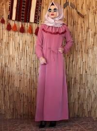 Ponponlu Elbise - Pudra - Melek Aydın