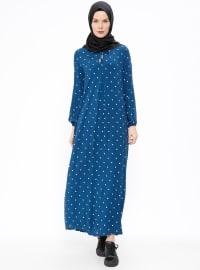 Puantiyeli Elbise - Petrol - Ginezza