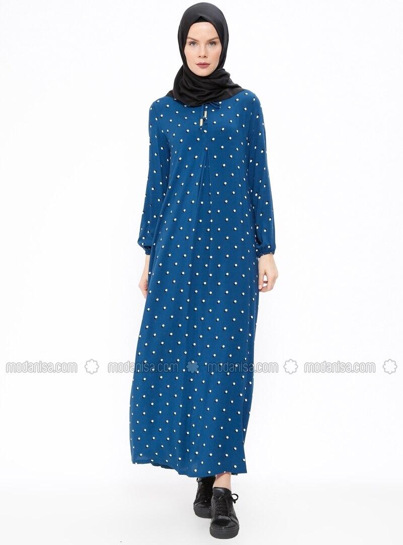 76c171a74be7 Petrol - mit Punkten - Rundhalsausschnitt - Ohne Innenfutter - Viskose -  Hijab Kleid