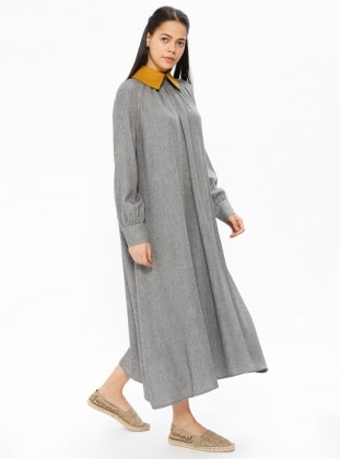 Yellow - Gray - Point Collar - Unlined - Dresses