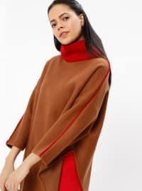 Maroon - Camel - Polo neck - Tunic
