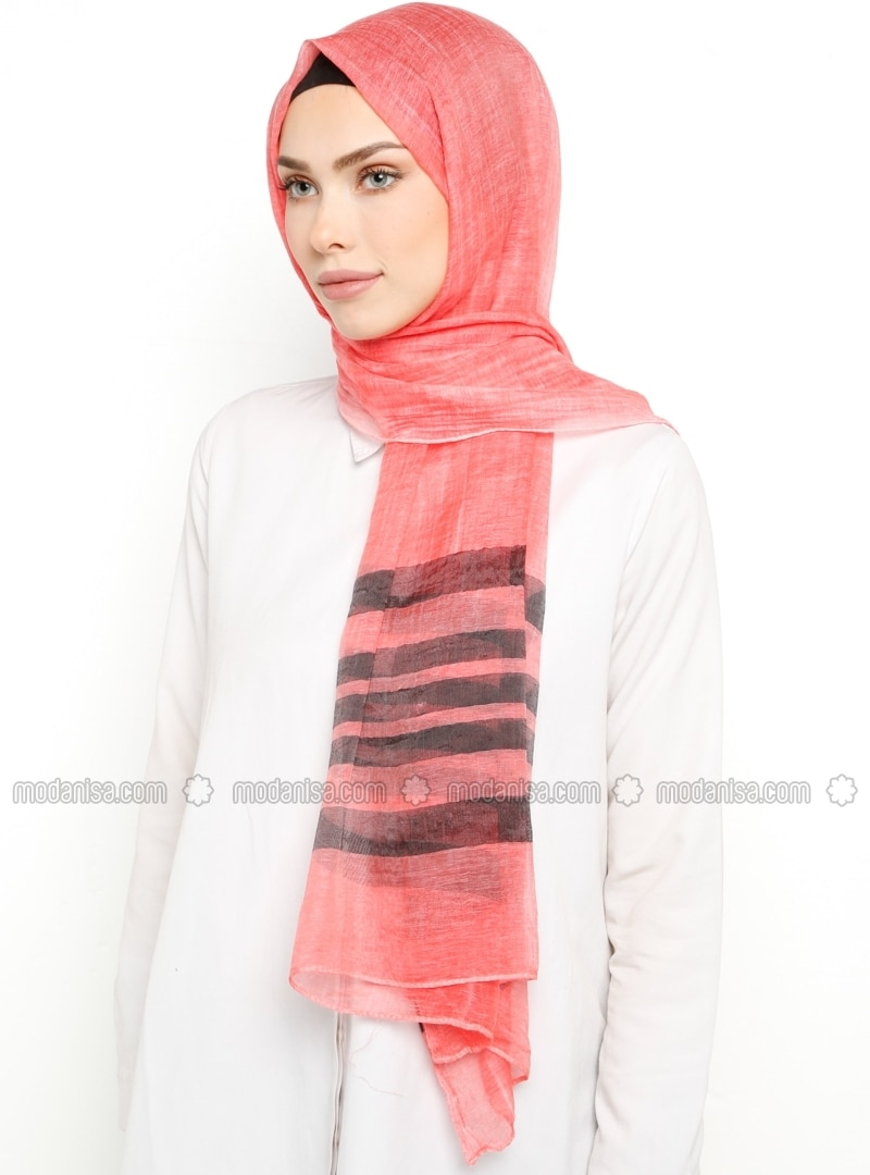 Coral - Striped - Shawl