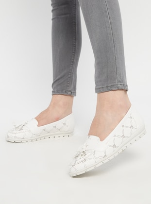 White - Silver tone - Flat - Casual - Shoes