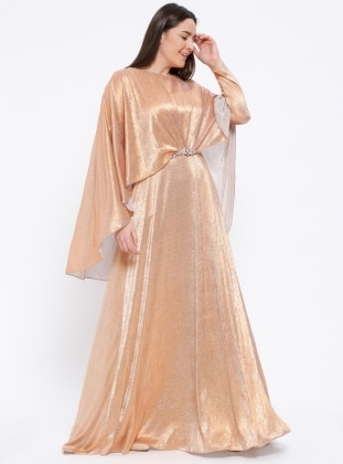 Brown - Fully Lined - Crew neck - Muslim Plus Size Evening Dress