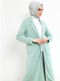 Cep Detaylı Uzun Ceket - Su Yeşili - Refka