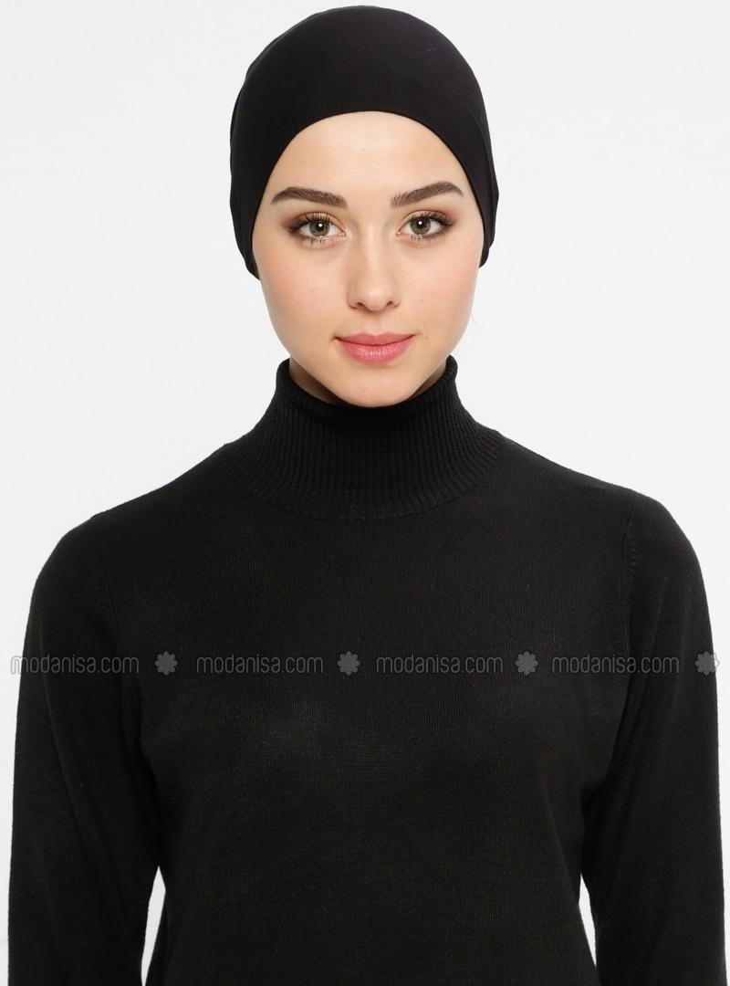 Black - Lace up - Viscose - Bonnet