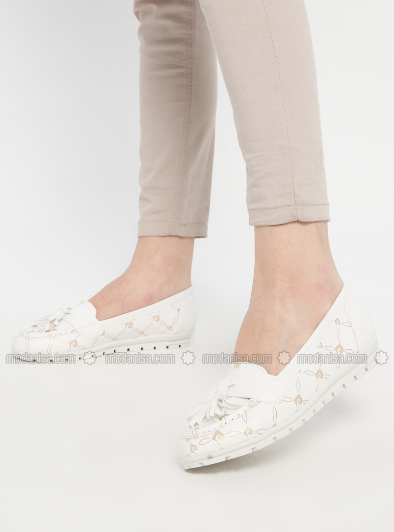 White - Gold - Flat - Casual - Shoes
