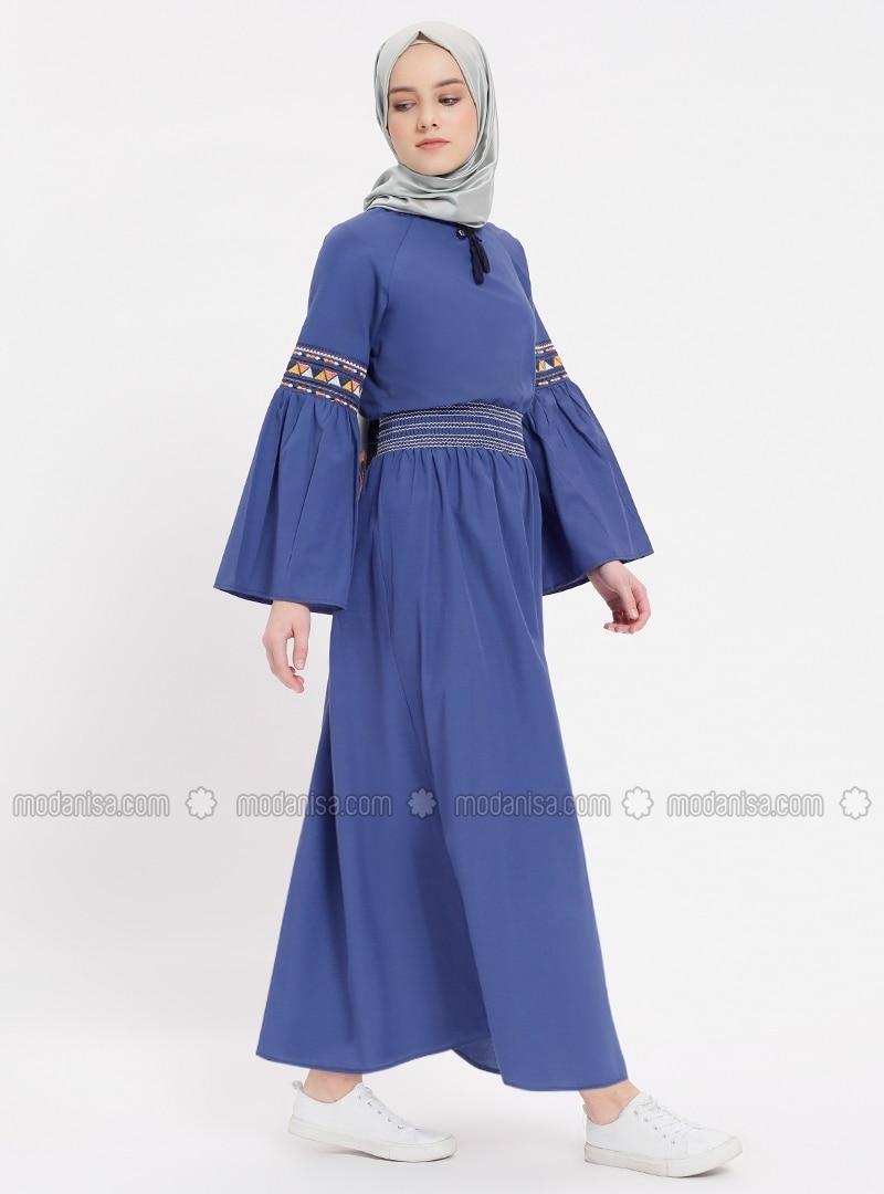350fd54671f51 Nakışlı Beli Lastikli Elbise - Lacivert