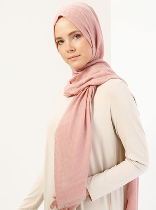 Pink - Mink - Viscose - Clover Patterned Shawl