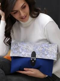 Chiccy Çiçek Desenli Kapaklı Clutch Çanta - Mavi - Chiccy