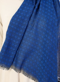 Brown - Saxe - Viscose - Clover Patterned Shawl