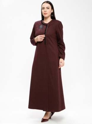 Purple - Fully Lined - Crew neck - Plus Size Coat