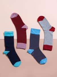 4`lü Likralı Çorap - Karışık Renkli - Mim çorap