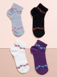 4`lü Patik Çorap - Karışık Renkli - Mim çorap