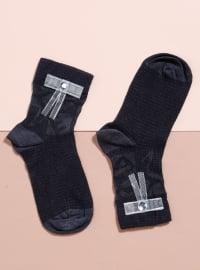 Aksesuarlı Bambu Tekli Patik Çorap - Antrasit - Mim çorap