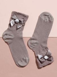 Aksesuarlı Bambu Tekli Patik Çorap - Bej - Mim çorap