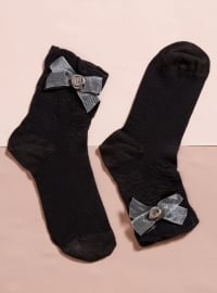 Aksesuarlı Bambu Tekli Patik Çorap - Kahverengi - Mim çorap