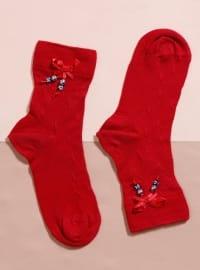 Aksesuarlı Bambu Tekli Patik Çorap - Kırmızı - Mim çorap