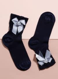 Aksesuarlı Bambu Tekli Patik Çorap - Lacivert - Mim çorap