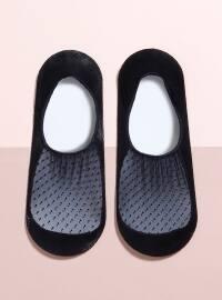 Bambu Dantelli Tekli Babet Çorap - Siyah - Mim çorap