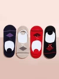 Fiyonklu 4`lü Babet Çorap - Karışık Renkli - Mim çorap