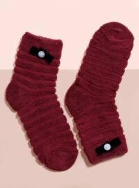 Mim çorap Havlu Kısa Konç Tekli Çorap - Bordo - Mim çorap