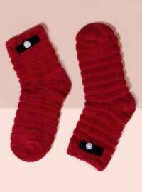 Mim çorap Havlu Kısa Konç Tekli Çorap - Kırmızı - Mim çorap