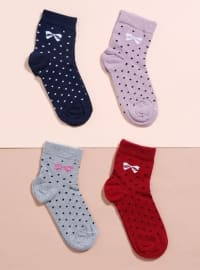 4`lü Likralı Kısa Konç Çorap - Karışık Renkli - Mim çorap