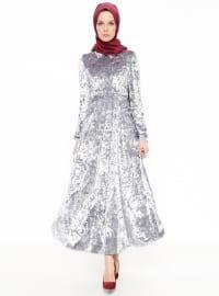 Nakış Detaylı Kadife Elbise - Gri - Nihan