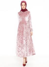 Nakış Detaylı Kadife Elbise - Pudra - Nihan