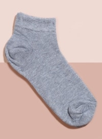 Tekli Patik Çorap - Açık Gri - Mim çorap