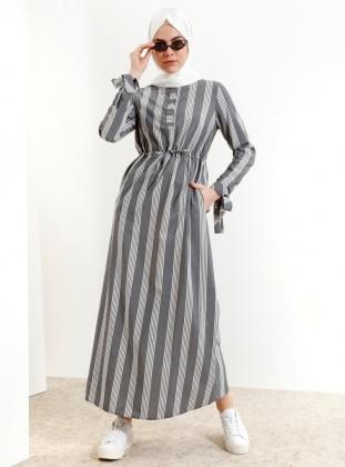 d4471c5949e3a Çizgili Elbise - Siyah