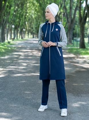 Navy Blue - Gray - Tracksuit Set