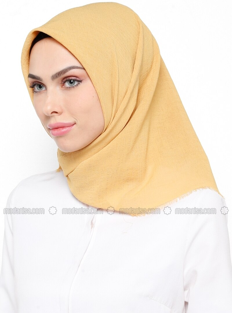 Yellow - Golden tone - Plain - Scarf