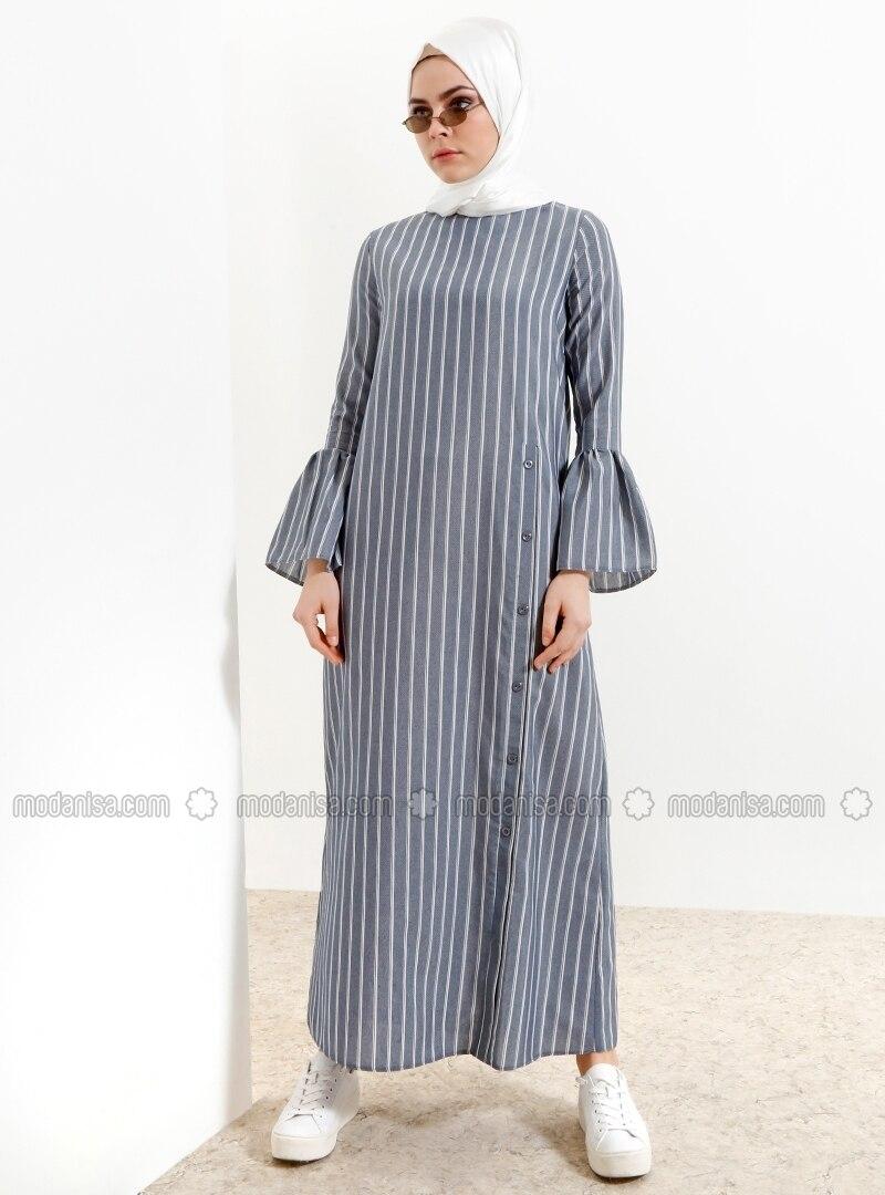 Navy Blue   Stripe   Crew Neck   Unlined   Dresses by Modanisa