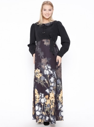 Black – Multi – Round Collar – Unlined – Maternity Dress – Carina