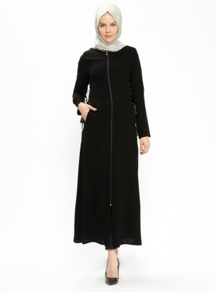 Fermuarlı Ferace - Siyah - Jamila Ürün Resmi