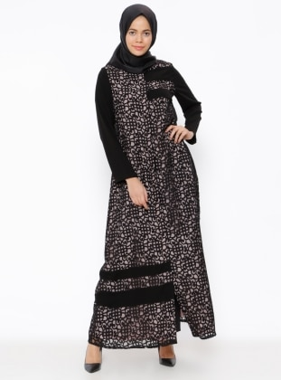 Black - Powder - Multi - Fully Lined - Crew neck - Abaya