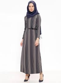 Çizgili Kemerli Elbise - Lacivert Pudra - Ginezza