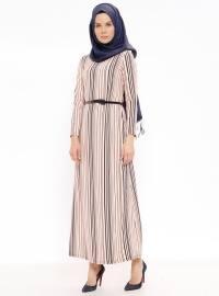 Çizgili Kemerli Elbise - Pudra - Ginezza