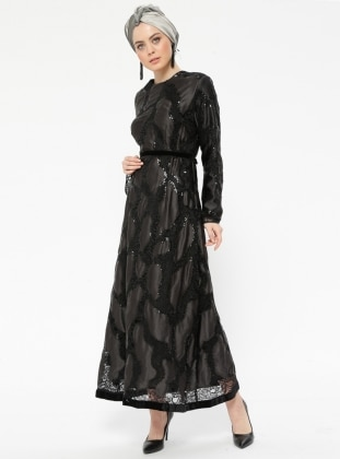 Black - Fully Lined - Crew neck - Muslim Evening Dress - Eldia By Fatıma