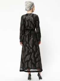 Black - Fully Lined - Crew neck - Muslim Evening Dress - Eldia By Fatıma