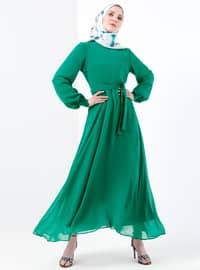 Şifon Elbise - Zümrüt - Refka
