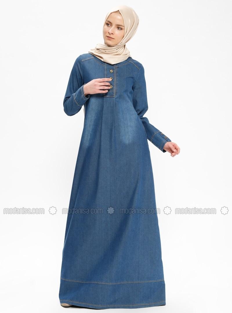 Navy Blue - Crew neck - Unlined - Denim - Dresses - Ginezza