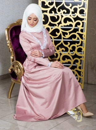 Powder - Polka Dot - Fully Lined - Crew neck - Muslim Evening Dress