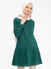 Düğmeli Tunik - Yeşil - Ginezza